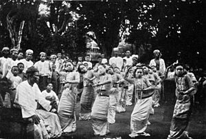 Burmese dance - A village group dance in the early 1900s