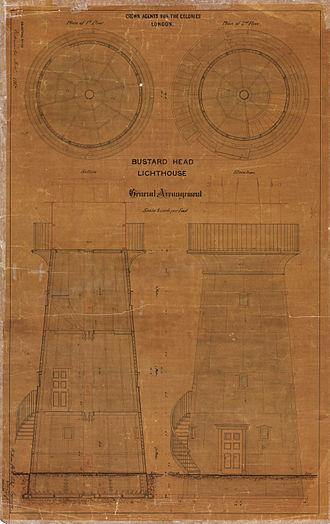 Bustard Head Light - General arrangement of the tower, 1865