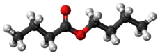 Ball-and-stick model of the butyl butyrate molecule