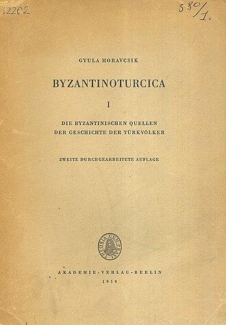 Gyula Moravcsik - The cover of the Berlin edition of Byzantinoturcica I by Gyula Moravcsik.