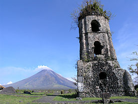 Cagsawa Ruins -  remains of the shattered cathedral spread on the grounds plus the damaged bell tower.