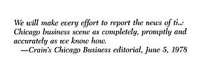 Crain's Chicago Business - Crain's Chicago Business editorial, June 5, 1978