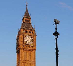 Mass surveillance in the United Kingdom - Camera next to the Palace of Westminster's Elizabeth Tower, London (2014).