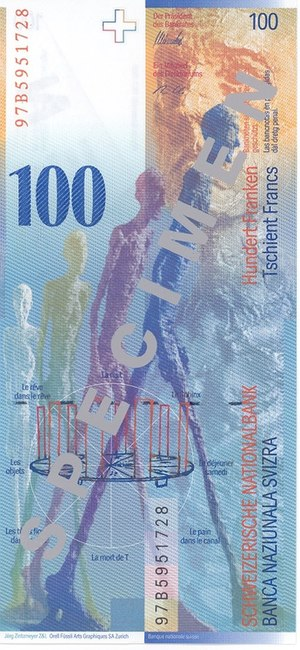 L'Homme qui marche I - Four views of L'Homme qui marche I depicted on the 1998 version of the 100 Swiss Franc banknote