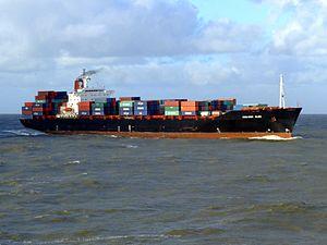 CMA CGM Elbe p6 approaching Port of Rotterdam, Holland 21-Jan-2007.jpg