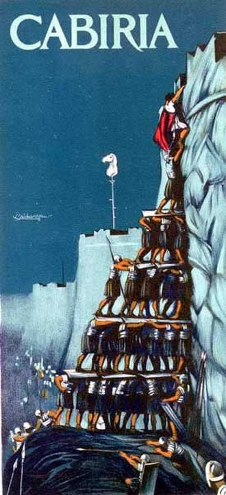 Cabiria - Cabiria poster portraying the human pyramid scene