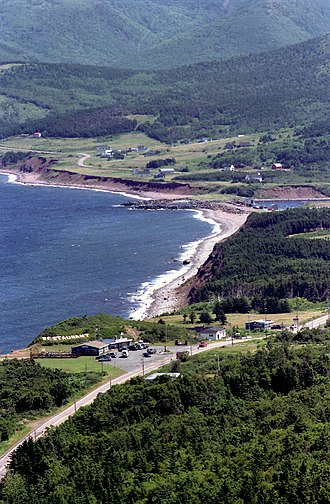 Cabot Trail - View of the commercial and residential establishments that exist at Pleasant Bay, along the Cabot Trail's northern-most segment