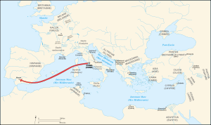 Caesar campaigns from Rome to Munda-fr.svg