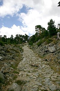 Roman roadway transecting the Fuenfría valley