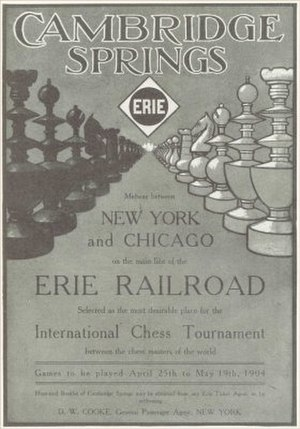 Cambridge Springs (Erie Railroad station) - An advertisement of the 1904 Cambridge Springs International Chess Congress, sponsored by the Erie Railroad, held in Cambridge Springs