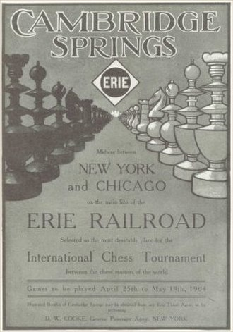 1904 Cambridge Springs International Chess Congress - Cambridge Springs 1904 tournament poster
