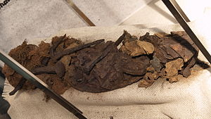 Canister shot - A canister shot load of a cannon of the early 17th century, consisting of iron nails, iron fragments, loam and hemp fabric