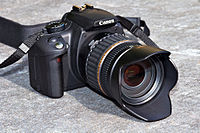 Canon EOS 350D camera with lens