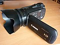 Canon Legria HF-G10 AVCHD Camcorder with LCD panel in open position.jpg
