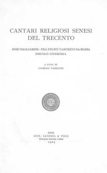 File:Cantari religiosi senesi del Trecento, 1965 – BEIC 1779078.djvu
