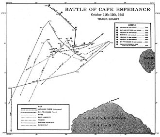 Battle of Cape Esperance - U.S. Navy track chart of the battle accurately depicts the movements of the U.S. ships (lower tracks) but not the Japanese ship tracks (upper, darker line).