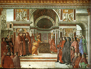 Zechariah (priest) - Annunciation of the Angel to Zechariah by Domenico Ghirlandaio (1490, fresco in the Tornabuoni Chapel, Florence)