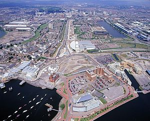 Listed buildings in Cardiff Bay - Aerial view of Cardiff Bay area (early 2000s); Bute East Dock in the background, the Bay and Roath Basin in the foreground