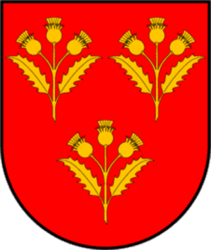 """Fernando Ramon Folch, 2nd Duke of Cardona - Coat of Arms of the family Cardona, Barons,  Viscounts, Counts, (since 1375), and Dukes, (since 1491),  successively, since their beginnings around the 11th century,  from the kingdom of Aragon - Catalonia. Their titles, several times linked with royal connections,  were passed through male or female inheritors. Súria and Cardona, in Catalonia have provided for over 1000 years potassium salts for dried meat keeping and gunpowder manufacturing. A """"Cardo"""" in Spanish is a """"Thistle"""" plant for the Scots, hence, their coat of arms."""