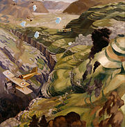 Carline, Sydney W - The Destruction of the Turkish Transport in the Gorge of the Wadi Fara, Palestine - Google Art Project
