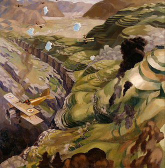 1920 in art - Image: Carline, Sydney W The Destruction of the Turkish Transport in the Gorge of the Wadi Fara, Palestine Google Art Project