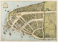 New Amsterdam, Lower Manhattan: Early East River docks along left bottom; protective wall against the British on right. West is at top. (Castello Plan, 1660.)