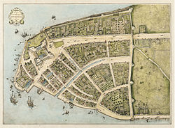 Lower Manhattan in 1660, when it was part of New Amsterdam (Nieuw Amsterdam).