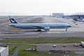 Cathay Pacific Airways, CX568, Boeing 777-367(ER), B-KQD, Arrived from Hong Kong, Kansai Airport (17187434031).jpg
