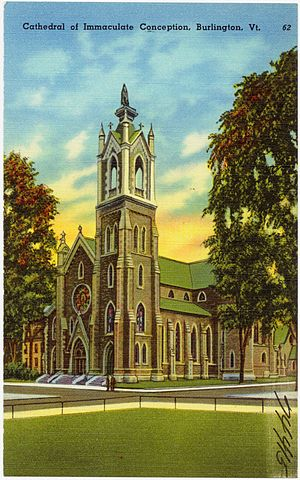 Cathedral of the Immaculate Conception (Burlington, Vermont) - Postcard image of the original cathedral