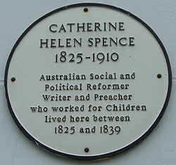 Photo of Catherine Helen Spence white plaque