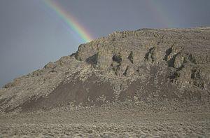 Catlow Valley - Rainbow over Catlow Rim escarpment