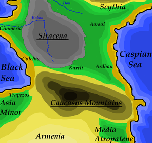 Siraces - Map depicting the Caucasus region around 400 B.C. Siracena, land of the Siraces, is shown in grey, according to its approximate greatest extent.
