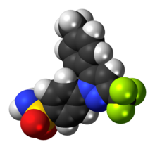 Space-filling model of the celecoxib molecule
