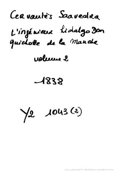 File:Cervantes - L'Ingénieux Hidalgo Don Quichotte de la Manche, traduction Viardot, 1837, tome 2.djvu