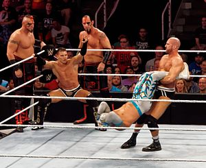 Tyson Kidd and Cesaro - Kidd and Cesaro performing the Cesaro Swing/Dropkick combination.