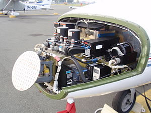 Avionics - Radar and other avionics in the nose of a Cessna Citation I/SP