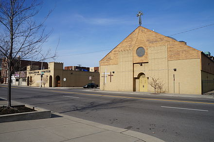 A historic church and community center built in Chaldean town, a Chaldean diaspora neighborhood in Detroit Chaldean Sacred Heart Church & Chaldean Center of America.JPG
