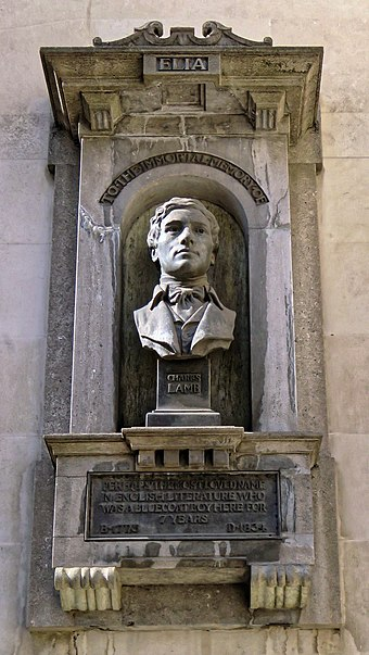 Memorial to Charles Lamb at Watch House in Giltspur Street, London Charles Lamb memorial, Giltspur Street, City of London (cropped).jpg