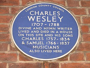 Charles Wesley - Plaque in Westminster commemorating the site of Wesley's house