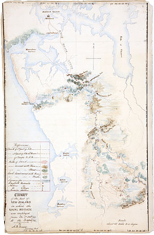 Invasion of the Waikato - Chart from the medical and surgical journal of A B Messer, assistant surgeon aboard HMS Curacoa