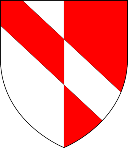 Arms of Geoffrey Chaucer: Per pale argent and gules, a bend counterchanged