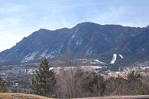 Interstate 25 in Colorado - Cheyenne Mountain, as seen from I-25 near Fort Carson. Note the communications antennas at the summit, which are radio antennas for stations broadcasting in Colorado Springs.