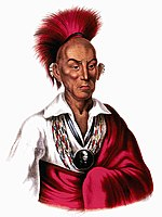 Native American chief with red headdress and red robe