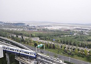 Chongqing Jiangbei International Airport - CRT Metro Line 3 seen here, departing Chongqing Jiangbei International airport.