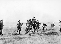 Christmas day football WWI 1915.jpg