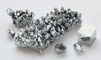 Heavy metals - Image: Chromium crystals and 1cm 3 cube