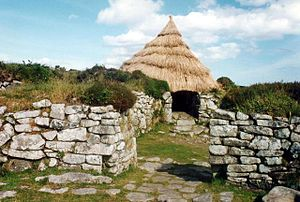 Chysauster Ancient Village - Temporary roof placed over one of the rooms, July 1993