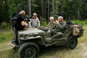 Six Million and One - Cinematographer Ronen Schechner, director David Fisher, Gunskirchen liberator and WWII veteran Mickey Dorsey and Pat Waters (son of General George S. Patton) during the making of Six Million And One. Photo taken by Irit Shimrat