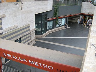 Cipro (Rome Metro) - The atrium of Cipro station: the showcase with the archeological finds is visible near the centre of the image