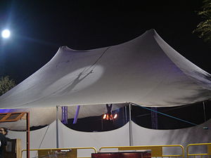 A circus tent from behind